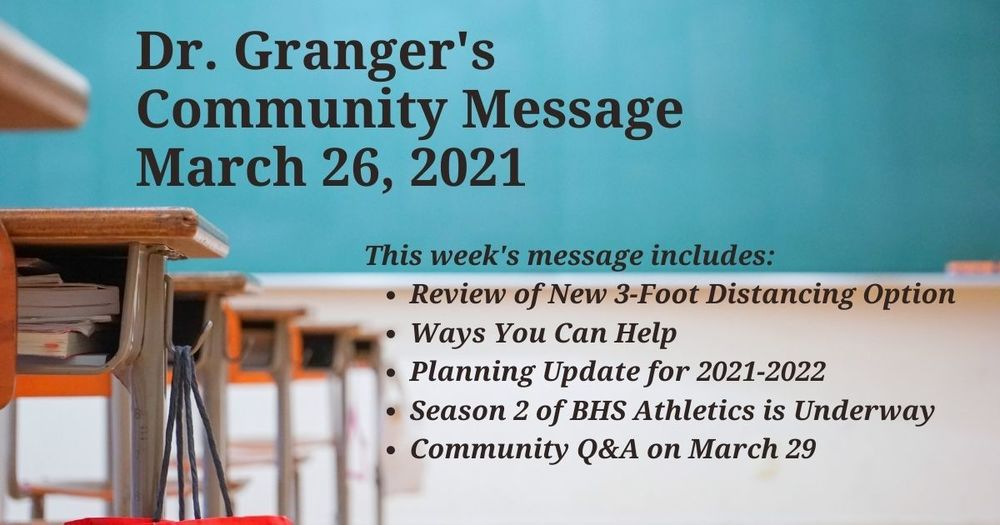Superintendent's Message March 26, 2021