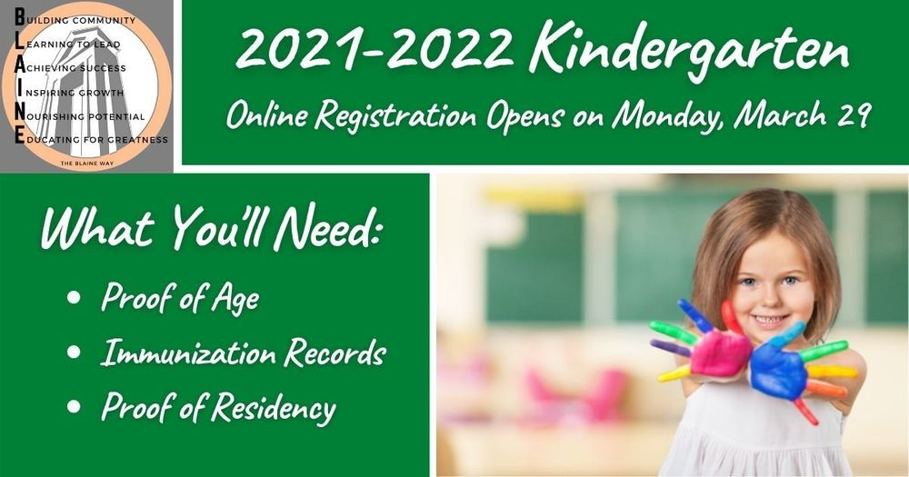 Online Kindergarten Registration Opens March 29