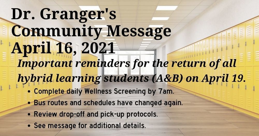 Superintendent's Message April 16, 2021