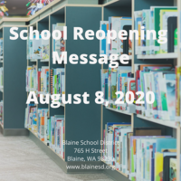 School Reopening Message August 8, 2020