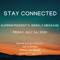 Superintendent's Message July 24, 2020