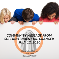 Superintendent's Message July 12, 2020